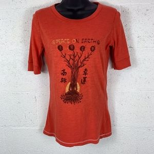 Lucky Brand Sz XS Orange Peace on Earth GraphicTee